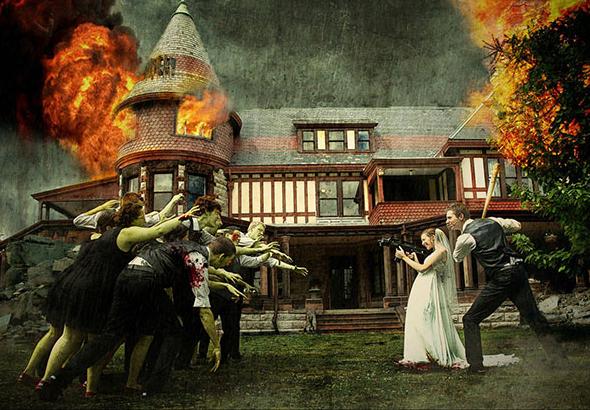 Una pareja vestida de boda se enfrenta a una horda de zombis.