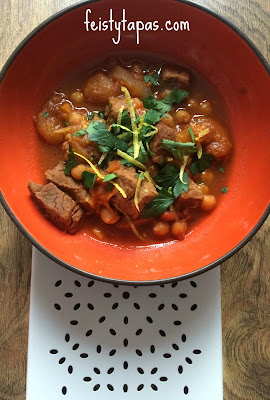 Delicious Instant Pot Pressure Cooked Lamb Tagine with apricots, chickpeas, lamb