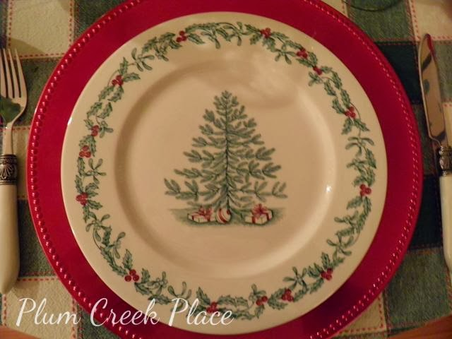Christmas tablescape, Walker China Christmas plate