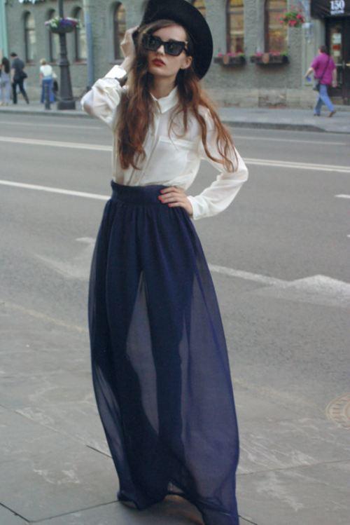 3221794c43 OUTFIT DEL DÍA  Look con falda larga color azul inspiración