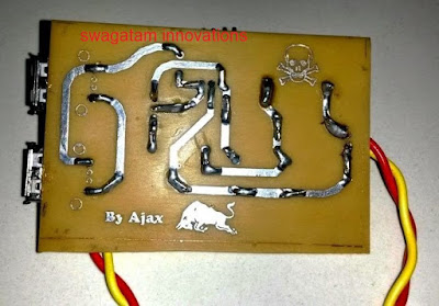 track side of PCB for cellphone DC to DC charger