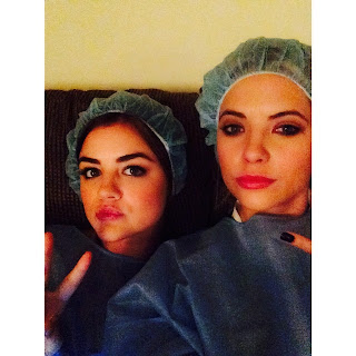 Lucy Hale and Ashley Benson BTS PLL Makeup Trailer