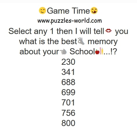 Select any 1 School Memory Game