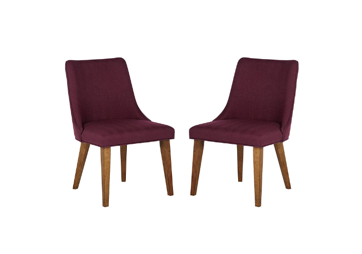 Rivet Ian Latest Wood Dining Chair, Pack of 2, Red