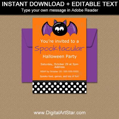 kids halloween invitation with cute bat