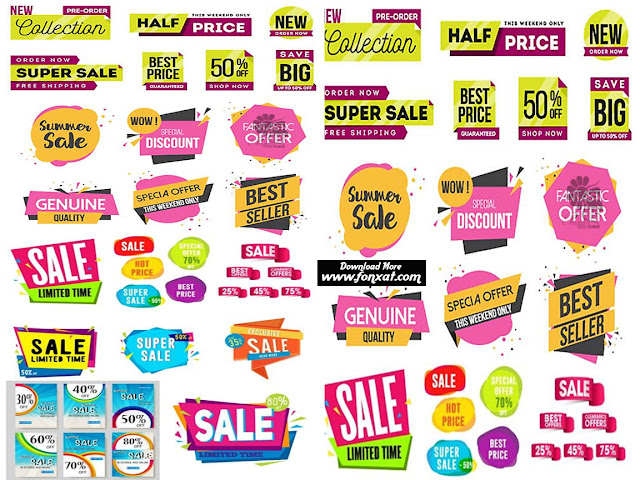 Vector images are ready to download format banners, labels and stickers for sale at a discount - Sale Banner Template Sale Sticker Or Label