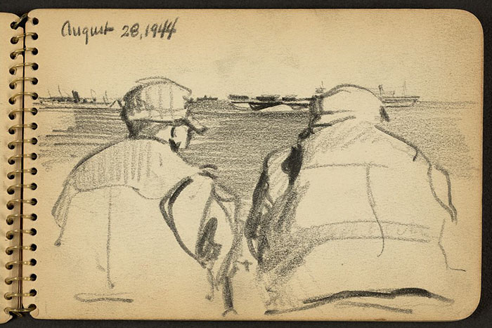 21-Year-Old WWII Soldier's Sketchbooks Show War Through The Eyes Of An Architect - Two Soldiers Looking Out To Sea