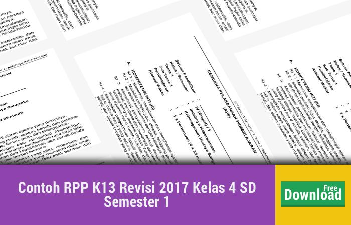 Contoh RPP K13 Revisi 2017 Kelas 4 SD Semester 1