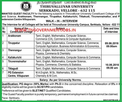Walk in interview for Teaching posts in Thiruvalluvar University for its constituent colleges