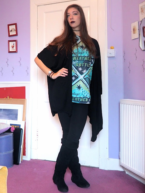 Mystical Mischief - Halloween witch inspired outfit of Harry Potter top, with black cardigan, leggings & knee high boots