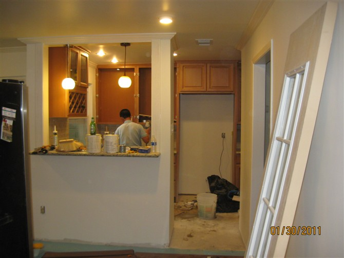 Kitchen Remodel Dallas Metal Cabinets Houston Remodeling 休斯顿张先生家厨房改造 理石台面的安装 地砖 地板工程
