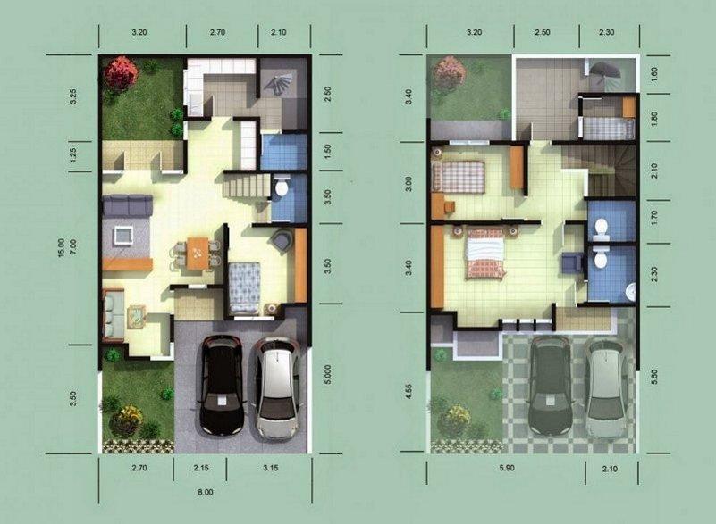 denah rumah 8x15 2 lantai 4