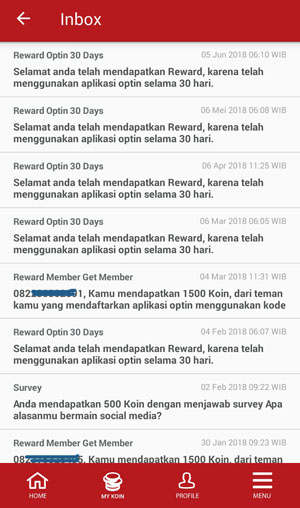 History bonus kuota internet aplikasi Roli