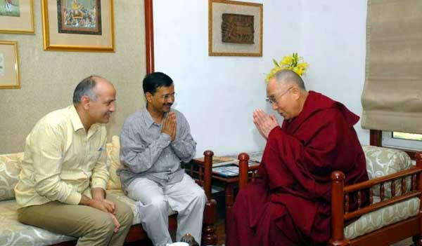 Delhi Chief Minister Arvind Kejriwal and his deputy Manish Sisodia on Sunday met Tibetan spiritual leader the Dalai Lama in Delhi