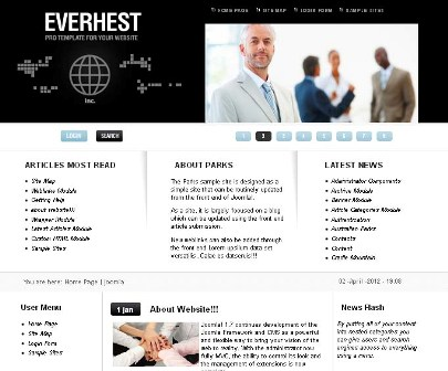Everhest Black Premium Joomla Template for Business and Corporate Website (Update 2.5/ 1.7 from globbersthemes.com)