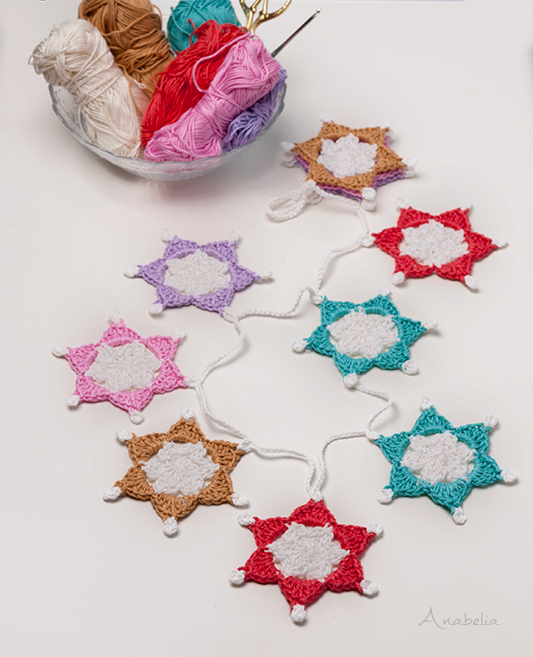 Six-point Crochet Stars Free Pattern, a Christmas gift by Anabelia Craft Design