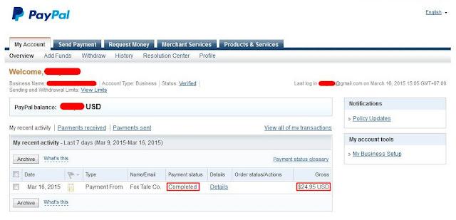 Bukti Pembayaran Dari Binbox.io Melalui Paypal Terbaru