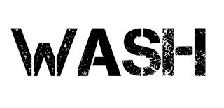 Logo for Wash - members are Warren Daly, electronics, Dublin, Ireland.  Alex Leonard, electronics, Belfast, Northern Ireland.  Scott Bywater, poetry, Hobart, Australia.   Hal FX, guitar, UK.