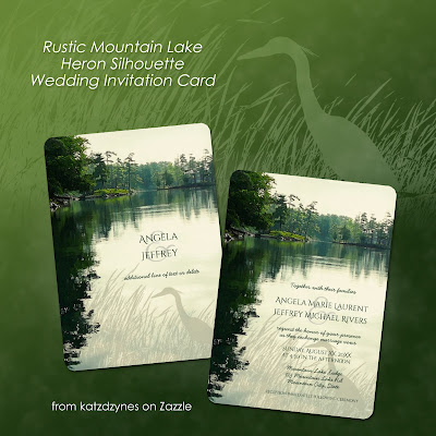 Rustic  mountain lake heron silhouette wedding invitation card