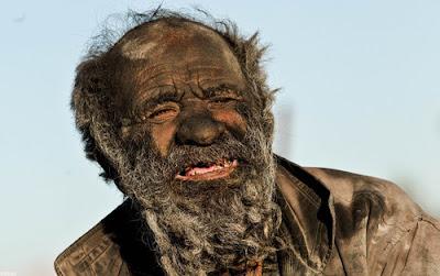 Amou Haji from Iran, hasn't taken a bath for over 60 years