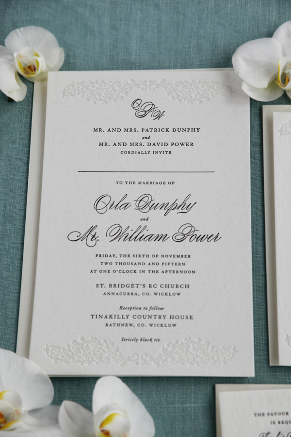 Letterpress Wedding Invitations Black Tie