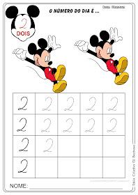 Atividade Numeral 2 Pontilhado Mickey