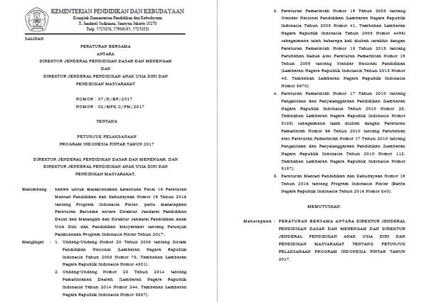 Petunjuk Pelaksanaan PIP (Program Indonesia Pintar) Tahun 2017