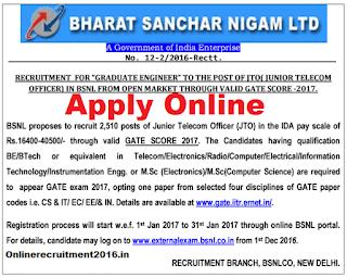 BSNL Recruitment – 2510 Junior Telecom Officer(JTO) – Last Date 31.01.2017