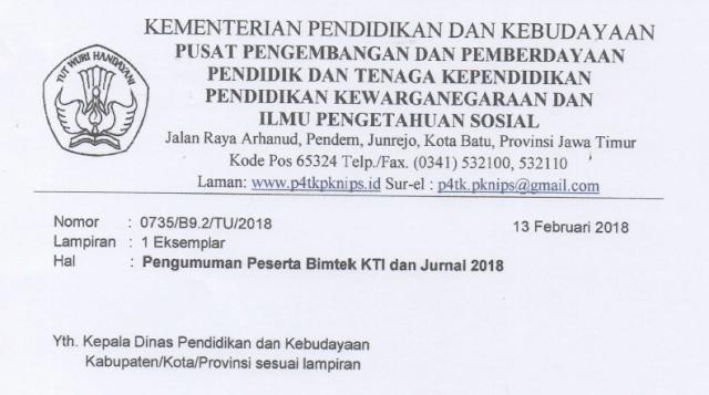 Pengumuman Hasil Seleksi Bimtek KTI dan Jurnal Ilmiah Tahun 2018