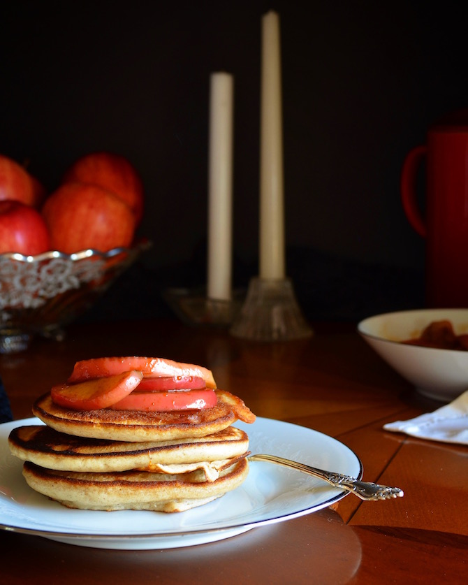Cinnamon Pancakes Calvados Apple Compote by Rebecca Sherrow