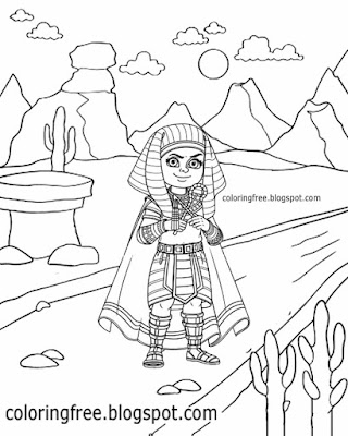 Sahara desert cactus plant easy Egyptian drawing ideas cute cartoon pharaoh coloring pages for kids