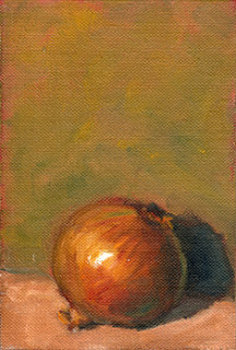 Oil painting of a brown onion in front of a green background.