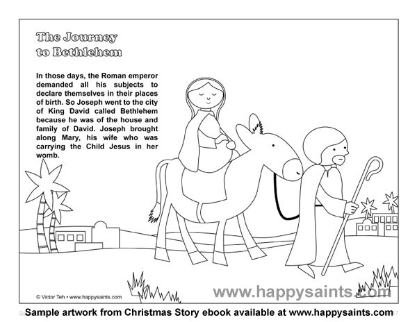 happy saints sample coloring page from christmas story ebook