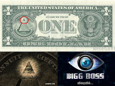 The similarity between Illuminati sign in American Dollar and the Logo of Bigg Boss TV show