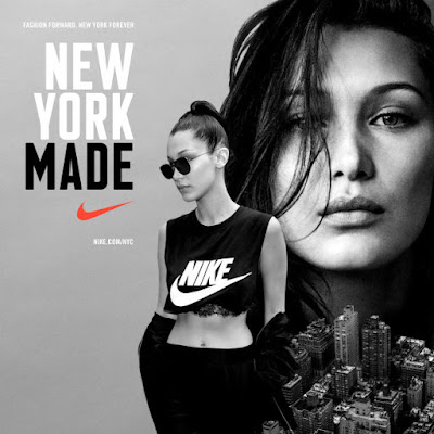 """Bella Hadid for Nike's """"New York Made"""" campaign. Photo: Nike"""