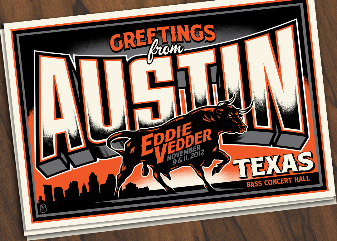 Inside the rock poster frame blog greetings from austin eddie greetings from austin eddie vedder poster by mark 5 m4hsunfo