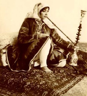 Persian woman with hookah (qalyan)