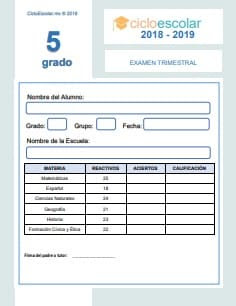 Examen Trimestral Quinto grado 2018-2019