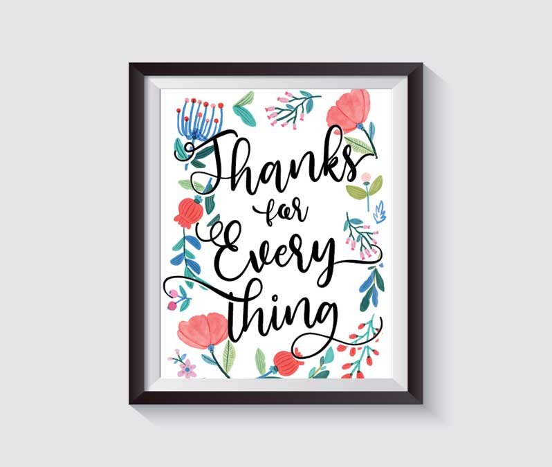 Thanks for Everything handlettering printable mothers day gift wall art