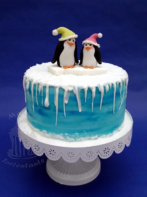 Pinguine aus Modellierfondant auf Motivtorte