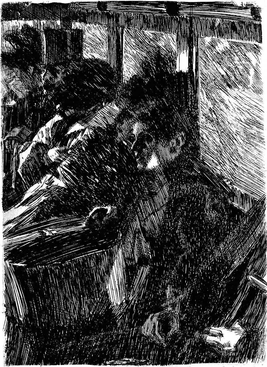 a print by Anders Zorn, the interior of a city omnibus 1892