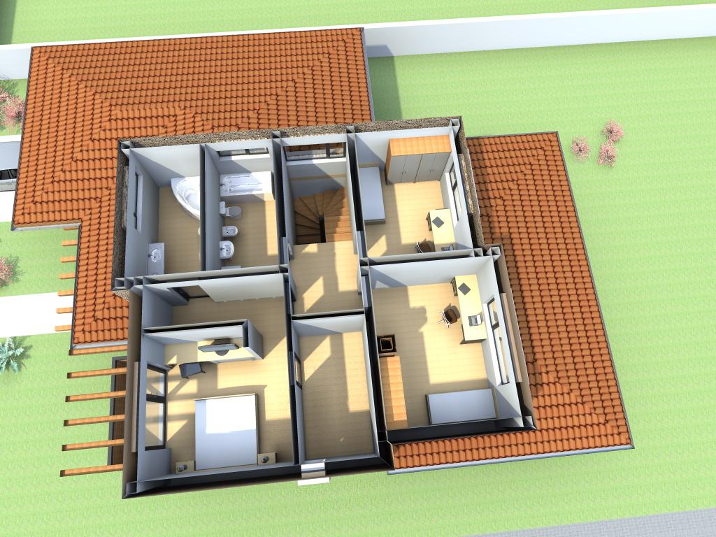 Arhiconstruct proiecte case cu garaj si etaj casa c26 for Arhitectura case cu mansarda