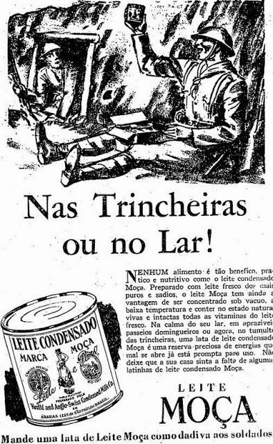 Propaganda do Leite Moça durante a Segunda Guerra Mundial.