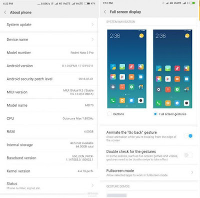 Xiaomi Redmi Note 5 Pro Android Oreo Update with MIUI 9.5 brings Full-Screen gesture & Dual 4G VoLTE Support