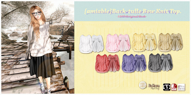 {amiable}Back-tulle Bow Knit Top.