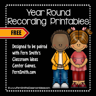 Fourteen FREE Year Round Addition and Subtraction Printable Recording Sheets To Be An Additional Resource For Your Math Center Time. These free recording sheets are made to go with the following Math Center. They can also be used as a stand alone activity for assessments. #FernSmithsClassroomIdeas