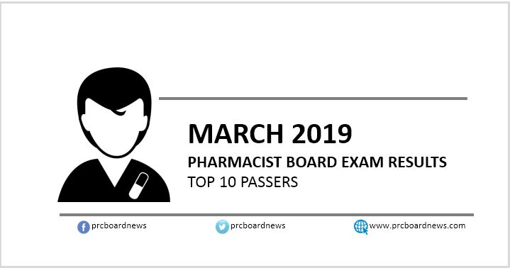 PRC RESULT: March 2019 Pharmacist board exam top 10 passers