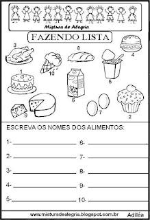 Lista de alimentos grupo semântico alfabetização