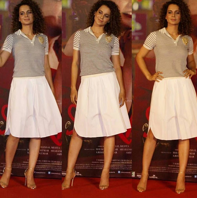"Kangana in a Simple and Sober Dior ""Tee and Skirt"" At Simran Trailer Launch"