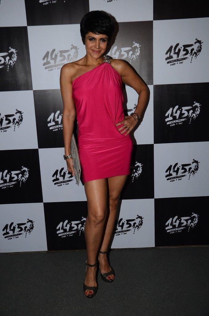 Indian Model Mandira Bedi Stills In Pink Mini Dress
